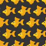 Goldfish seamless pattern. Vector background of fabulous yellow. Fish. Ornament of marine animals for childrens fabric Royalty Free Stock Photos