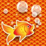 Goldfish sem emenda sobre o teste padrão da escala de peixes Fotos de Stock Royalty Free