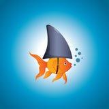 Goldfish Shark. A cute little goldfish wearing a shark fin to scare predators away. Editable  illustration Stock Photo