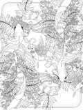 Goldfish swim underwater. Graceful goldfish swim underwater - adult coloring page Stock Photo