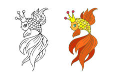 Goldfish. Vector illustration of fairy-tale goldfish with a crown. Includes colorful and outline coloring versions Stock Photography