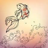 Goldfish. Vector illustration. Goldfish. Hand drawn  illustration Stock Photo