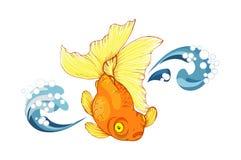 Goldfish and wave on white background Royalty Free Stock Photo