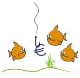 Goldfisheurokarikatur Stockfotografie