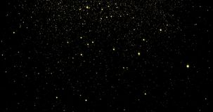 Goldflüssige helle Partikel und funkelnde Sterne mit dem Schimmern des geschlungenen Effektes vektor abbildung