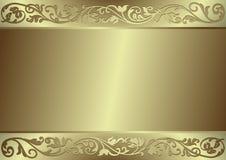 Goldflourishes und -hintergrund Stockbild