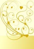 Goldflourishmuster mit Sternen und Herzen Lizenzfreies Stockfoto