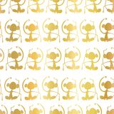 Goldfolie Affeschattenbilder auf weißem nahtlosem Musterhintergrund Meditierende Affen Groß für Kindermarkt, Kinder Dekor, Geburt lizenzfreie abbildung