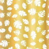 Goldfolie verlässt nahtlosen Vektorhintergrund Weißes zerstreutes Blattmuster auf goldenem elegantem Hintergrundentwurf für Hochz lizenzfreie abbildung