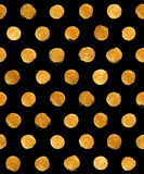 Goldfolien-Polka-Dot Seamless Pattern Paint Stain-Zusammenfassungs-Illustration Glänzende Bürsten-Anschlag-Form für Sie erstaunli Stockfotografie