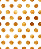 Goldfolien-Polka-Dot Seamless Pattern Paint Stain-Zusammenfassungs-Illustration Glänzende Bürsten-Anschlag-Form für Sie Projekt Lizenzfreie Stockbilder