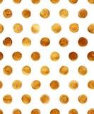 Goldfolien-Polka-Dot Seamless Pattern Paint Stain-Zusammenfassungs-Illustration Glänzende Bürsten-Anschlag-Form für Sie Projekt Lizenzfreie Stockbilder