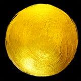Goldfolien-runde glänzende Farben-Fleck-Hand gezeichnete Raster-Illustration Stockfotos