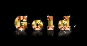Goldfont. Goldbar with litle stars on black Stock Photo