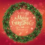 Goldfrohe Weihnachten typografisch auf rotem Hintergrund mit Weihnachtskranz von Baumasten, Beeren lizenzfreie abbildung