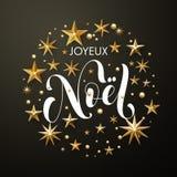 Goldfunkeln frohe Weihnacht-Franzosen Joyeux Noel spielt Grußkarte die Hauptrolle stock abbildung
