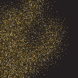 Goldfunkeln-Glanzbeschaffenheit auf einem schwarzen Hintergrund Goldene Explosion von Konfettis Goldene abstrakte Partikel auf ei lizenzfreie abbildung