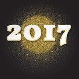 Goldfunkeln guten Rutsch ins Neue Jahr-Hintergrund 2017 funkelt Auch im corel abgehobenen Betrag vektor abbildung