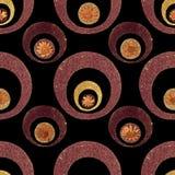 Goldfunkeln-Retro- Blumen-Muster Stockbild