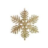 Goldfunkeln-Schneeflockehintergrund Stockfotos