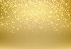Goldfunkeln-Staubbeschaffenheit, die auf goldenem Hintergrund glänzt Goldgleichheit Lizenzfreie Stockbilder