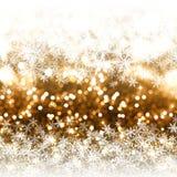 Goldfunkeln Weihnachtshintergrund mit Schneeflocken stock abbildung