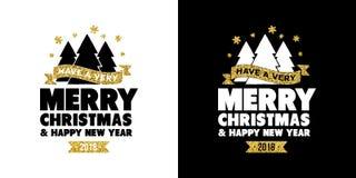 Goldfunkeln Zitat-Grußkarte froher Weihnachten lizenzfreie abbildung