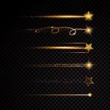 Goldfunkelndes gewundenes Sternstaubhinterfunkelnde Partikel auf transparentem Hintergrund Stockfotos