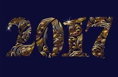 Goldfunkelndes Metallneues Jahr nummeriert Zahlen, Währungszeichen Blumenweinleseorientale-Verzierung Goldene eas Feiertag der Gr Lizenzfreie Stockfotografie