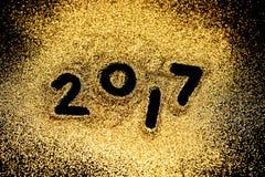 Goldfunkelnluxus des neuen Jahres 2017 Stockbilder