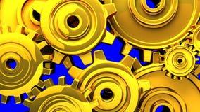 Goldgänge auf blauem Farbenreinheits-Schlüssel stock video