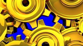 Goldgänge auf blauem Farbenreinheits-Schlüssel stock video footage