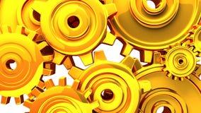 Goldgänge auf weißem Hintergrund stock video