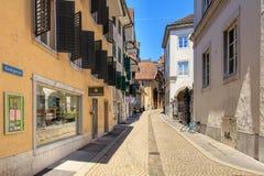 Goldgasse gata i Solothurn, Schweiz Arkivfoton