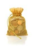 Goldgeld-Tasche von Münzen Stockfotografie