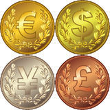 Goldgeldmünze mit Bargeld Lizenzfreie Stockbilder