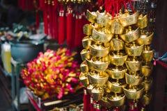 Goldgeldverzierung, Dekoration des Chinesischen Neujahrsfests Lizenzfreies Stockfoto