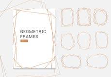 Goldgeometrische Polyeder-Rahmensammlung Luxusschablonenart- decoArt für Heiratseinladung stock abbildung