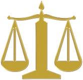Goldgerechtigkeit-Schwerpunktzeichen Stockfotografie