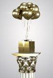 Goldgeschenkbox mit Goldband und -ballonen Stockfotos
