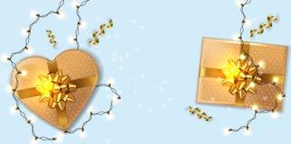 Goldgeschenkboxen mit Lichtgirlande Vektor realistisch Produktplatzierungsspott oben Entwurf, der Illustration 3d verpackt stock abbildung
