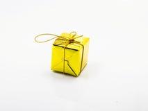 Goldgeschenkboxweihnachten stockfotos