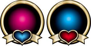Goldglänzende blaue und rosa Ausweise mit den roten und blauen Herzen auf ribb Lizenzfreie Stockfotografie