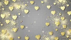 Goldglänzende Herzen funkeln auf dem grauen Hintergrund mit Text Valentinsgruß-Tagesfeiertagszusammenfassungs-Schleifenanimation stock footage