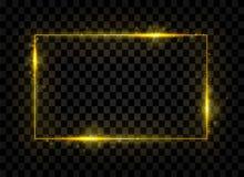 Goldglänzende Rechteckfahne Goldene Lichteffekte Auch im corel abgehobenen Betrag stock abbildung