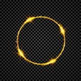 Goldglänzende runde Fahne Goldener Kreis Lichteffekte Scheinringrahmen Auch im corel abgehobenen Betrag stock abbildung