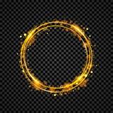 Goldglänzende runde Fahne Goldener Kreis Lichteffekte Scheinringrahmen Auch im corel abgehobenen Betrag vektor abbildung