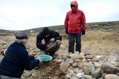 Goldgräber zeigt Touristen den alluvialen Goldsand, der im Bergwerk auf der Insel von Tierra del Fuego gewonnen wird Stockbild