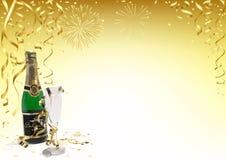 Goldguten rutsch ins neue jahr-Hintergrund mit Champagne Lizenzfreies Stockfoto