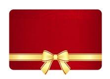 Goldgutschein mit rotem Band und Weinlese mit Blumen Lizenzfreies Stockbild